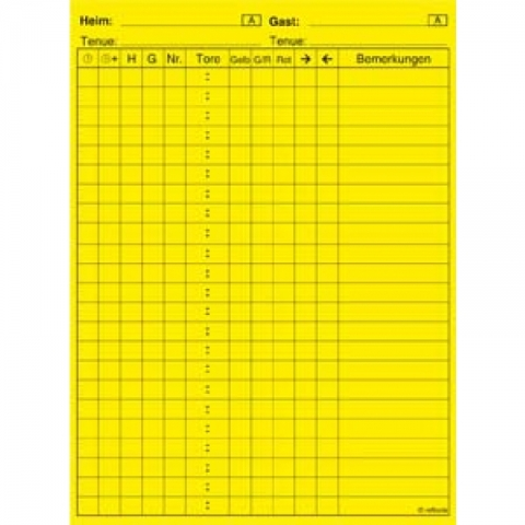 Spielnotizzettel selbstklebend mit Aufdruck, gelb. 30 Stk/Set