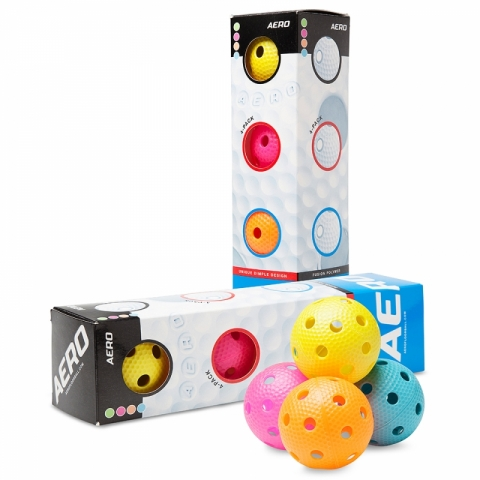 Unihockey-Matchball, Aero 4-Pack, SALMING-Multicolour