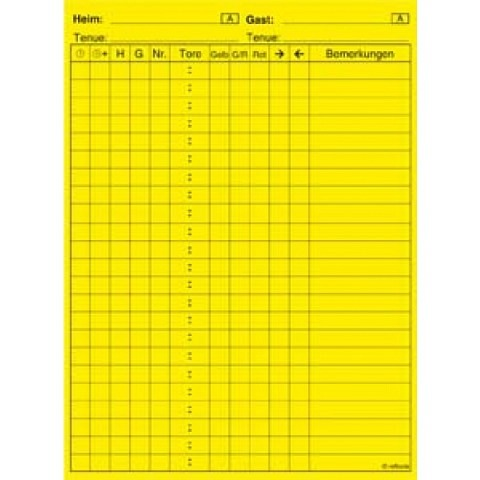 Spielnotizkarten,  Spielnotizzettel selbstklebend mit Aufdruck, gelb. 30 Stk/Set
